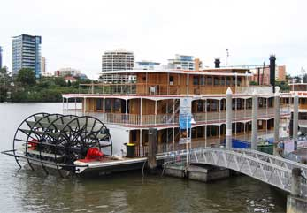 A majestic paddle boat is available for cruises on the river.