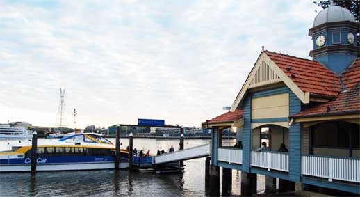 Bulimba ferry station and CityCat ferry