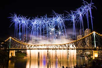 Riverfire fireworks display over Story Bridge in Brisbane