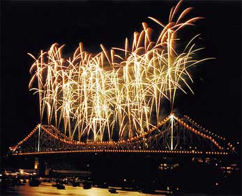 Riverfire fireworks explode over Brisbane's Story Bridge