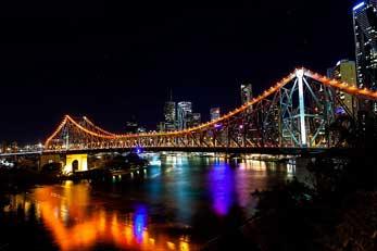 Story Bridge lit up at night