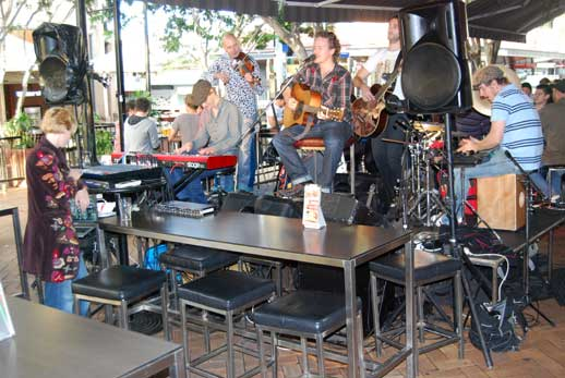 Sunday afternoon music scene in the Brunswick Street Mall in Fortitude Valley